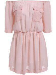 Pink Off the Shoulder Pockets Loose Dress