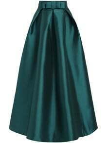 Green High Waist Bow Flare Skirt