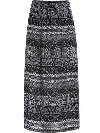 Black Geometric Print Maxi Skirt