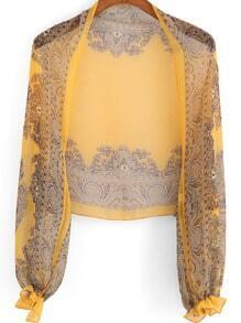 Yellow Long Sleeve Floral Crop Chiffon Kimono
