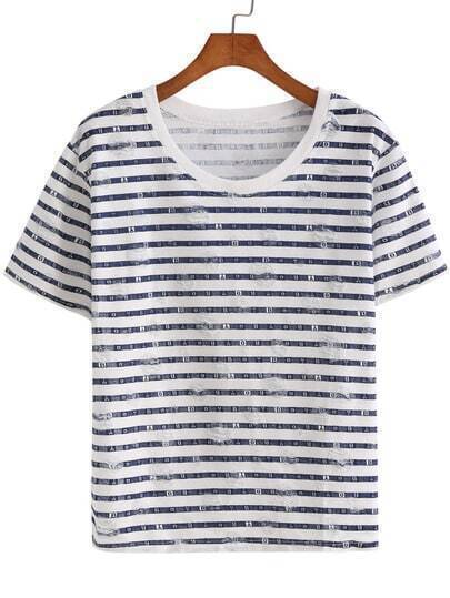 Blue White Short Sleeve Striped Letters Print T-Shirt