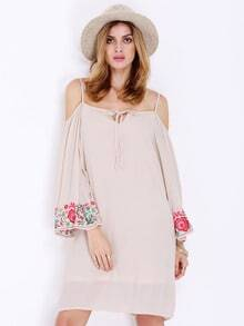 Apricot Long Sleeve Off The Shoulder Embroidered Dress