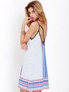 White Spaghetti Strap Backless Vintage Print Dress