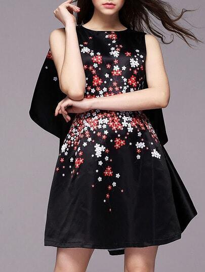 Black Round Neck Floral Print Cape Dress