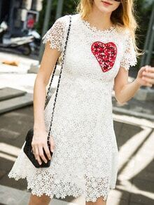 White Short Sleeve Hollow Dress