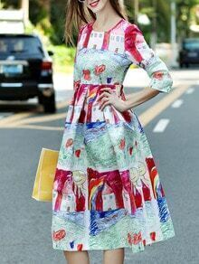 Red Round Neck Length Sleeve Cartoon Print Dress