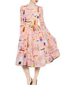 Pink Round Neck Long Sleeve Cartoon Print Dress