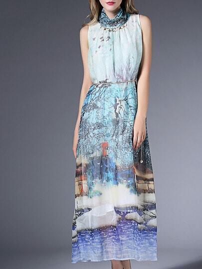 Blue Sleeveless Tribal Print Beading Drawstring Maxi Dress