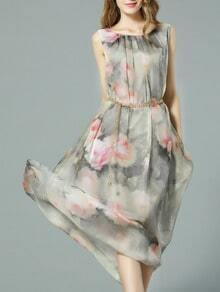 Grey Sleeveless Floral Print Drawstring Maxi Dress