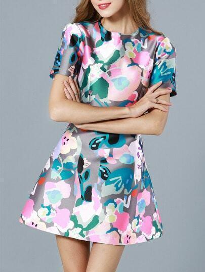 Multicolor Round Neck Short Sleeve Floral Print Dress