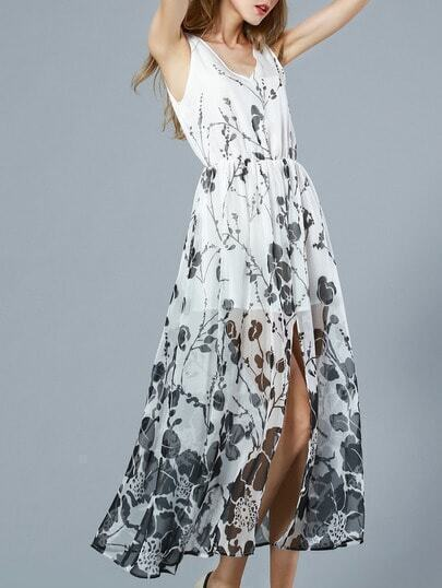 White V Neck Sleeveless Floral Print Maxi Dress