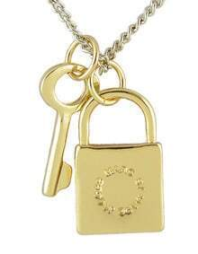 Popular Style Gold Plated Key And Lock Best Friend Necklace