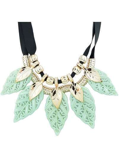 Green Plastic Leaf Statement Necklace