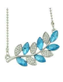 New Fashion Jewelry Rhinestone Pendant Leaf Necklace