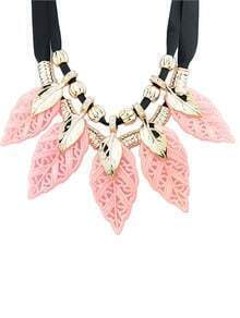 Popular Shourouk Style Plastic Leaf Shaped Women Statement Necklace