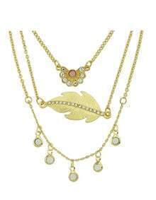 Hot Sale Gold Plated Three Pieces Leaf Flower And Hanging Round Necklace Set