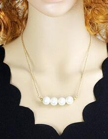 New Fashion Simple Style Imitation Pearl Design Necklace