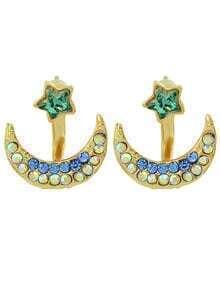 New Fashion Small Rhinestone Star Moon Stud Earrings