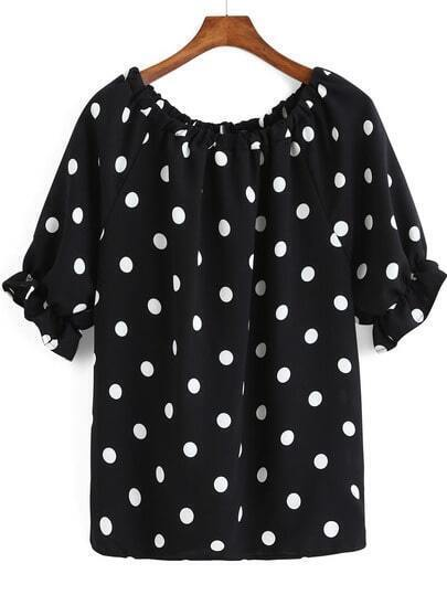 Black Bell Sleeve Polka Dot Loose Blouse