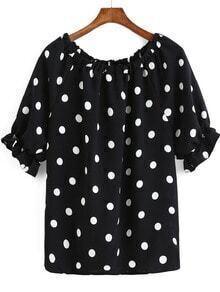 Black Bell Sleeve Polka Dot Loose Blouse