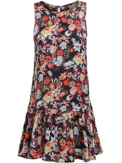 Multicolor Round Neck Sleeveless Floral Ruffle Dress