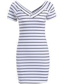 White V Neck Short Sleeve Striped Bodycon Dress