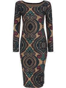 Multicolor Round Neck Floral Slim Bodycon Dress