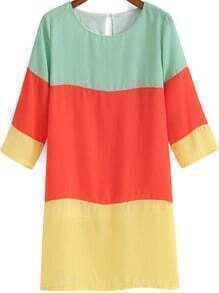 Multicolor Half Sleeve Chiffon Straight Dress