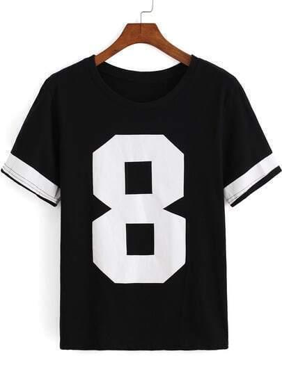 Black Round Neck Short Sleeve 8 Print T-Shirt