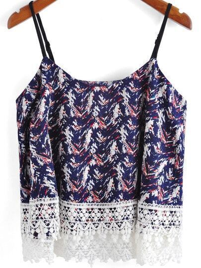 Navy Spaghetti Strap Lace Embellished Cami Top