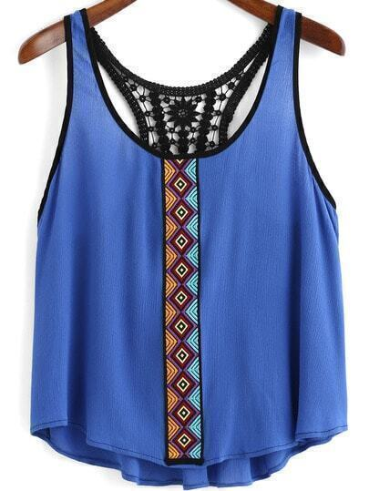 Blue Scoop Neck Embroidered Lace Tank Top