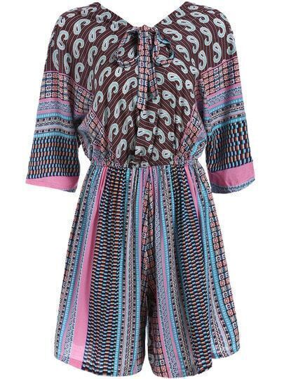 Multicolor Tie-neck Tribal Print Jumpsuit