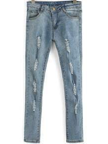 Blue Ripped Skinny Denim Pant