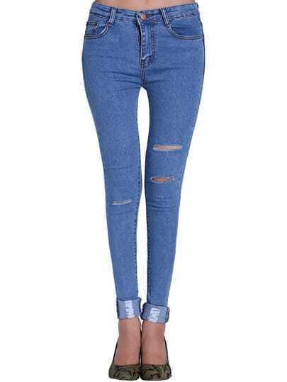 Blue Ripped Slim Denim Pant