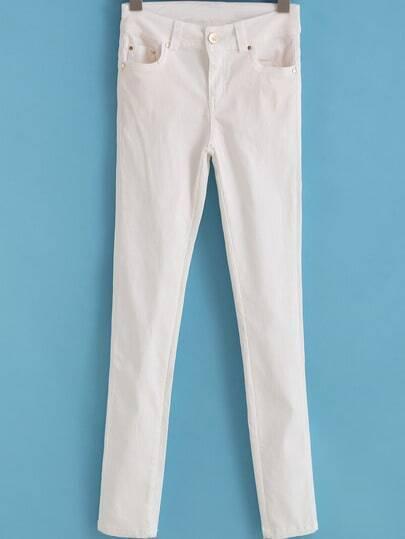 White Slim Pockets Denim Pant