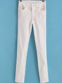 White Slim Pockets Denim Pant