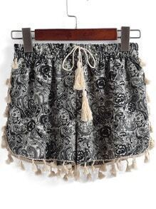 Black Drawstring Waist Tassel Shorts