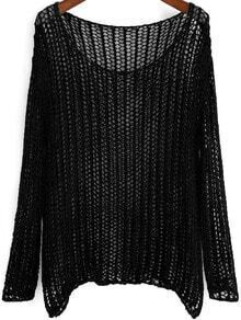 Black Long Sleeve Hollow Loose Knit Sweater