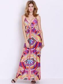 Multicolor Spaghetti Strap Cut Out Geometric Print Maxi Dress