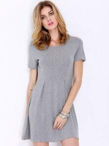 Grey Short Sleeve Casual Dress