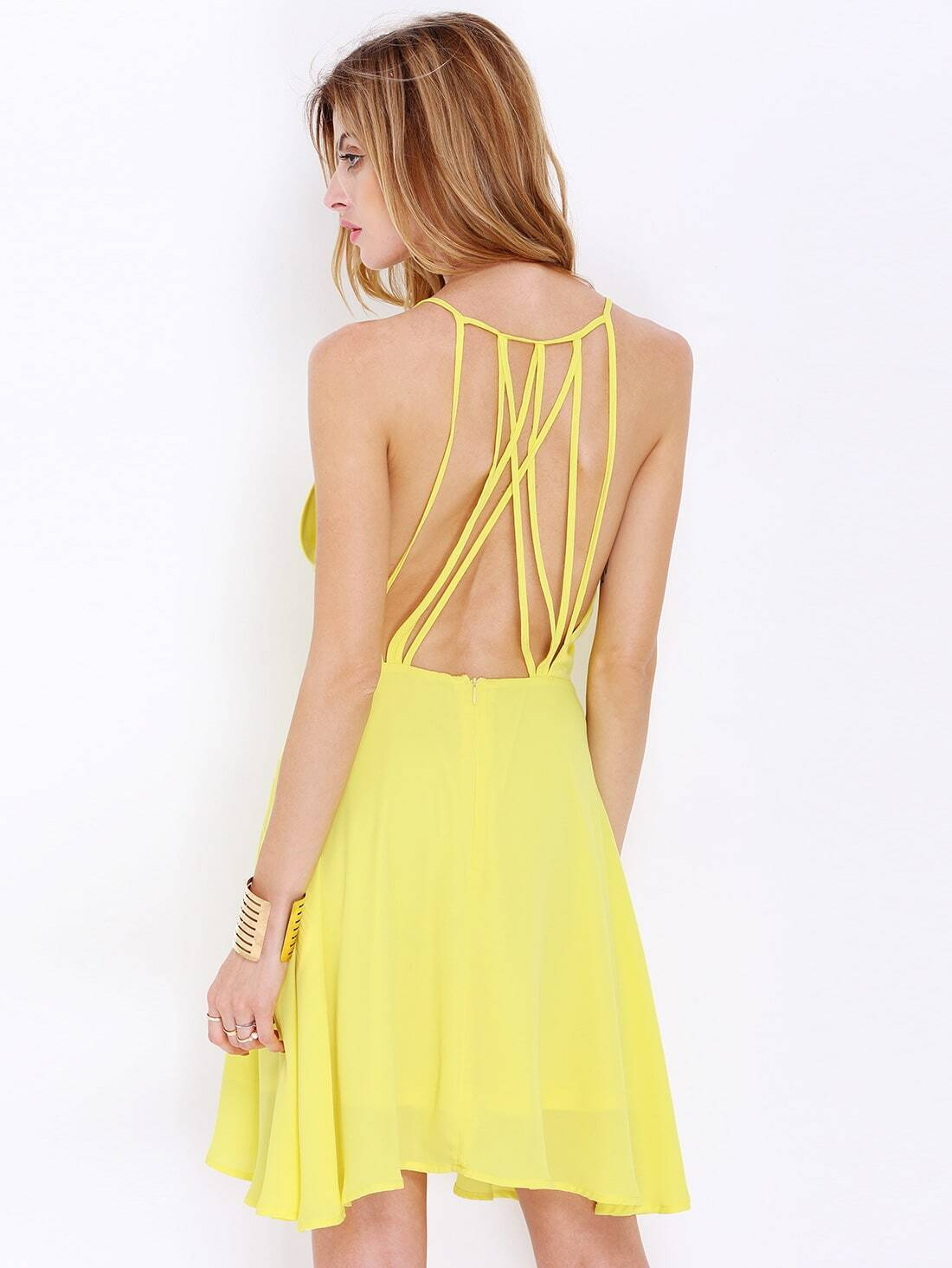 Yellow Spaghetti Strap Backless Dress