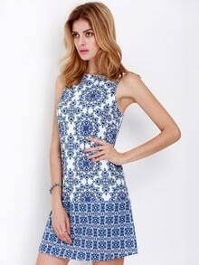 Blue White Sleeveless Vintage Print Dress