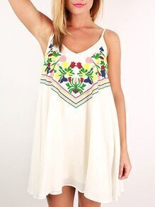 White Beachy Spaghetti Strap Backless Embroidered Dress