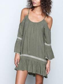 Army Green Drapery Slip Long Sleeve Off The Shoulder Embroidered Drop Waist Dress