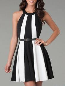 White Black Sleeveless Color Block Flare Dress