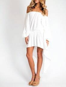 White Long Sleeve Off The Shoulder High Low Dress