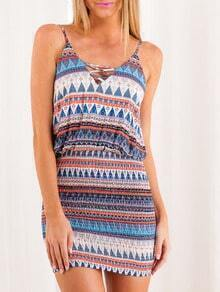 Multicolor Spaghetti Strap Backless Bodycon Dress