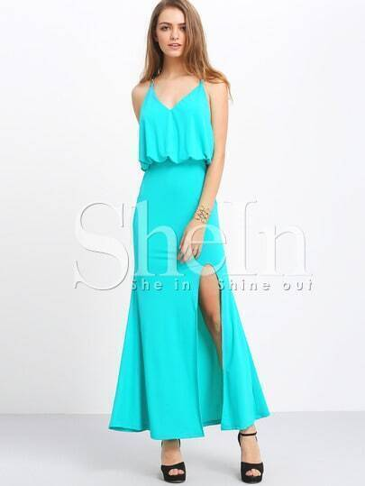 Green Spaghetti Strap Backless Split Maxi Dress