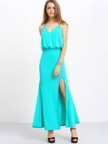 Green Spaghetti Strap Backless Split Maxi Dress