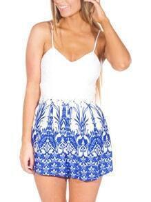 White Spaghetti Strap Backless Vintage Print Playsuit